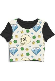 Blusa Feminina Cropped Tshirt Diamante Caveira Cactos Coroa - Feminino