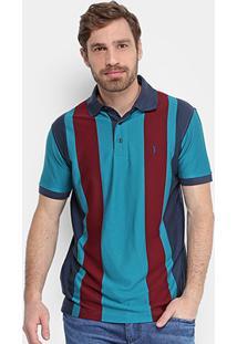 Camisa Polo Aleatory Listra Vertical Masculina - Masculino-Verde+Vinho