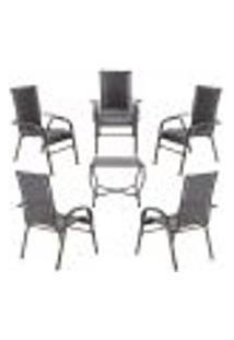 Conjunto Mesa Baixa E 5 Cadeiras Para Área Edicula Jardim Bela, Ferro E Fibra Trama Fechada Tabaco