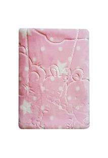 Cobertor Baby Menina Super Soft Em Relevo Estampado 110Cmx140Cm