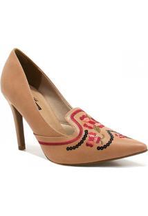 Sapato Zariff Shoes Scarpin Bordado - Feminino-Marrom