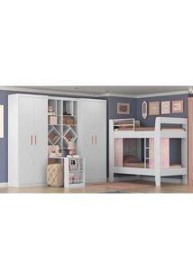 Quarto Completo Kappesberg Juvenil 03: Guarda-Roupa + Beliche + Livreiro + Bancada - Branco/Rosa