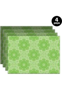 Jogo Americano Mdecore Ornamental 40X28Cm Verde 4Pçs
