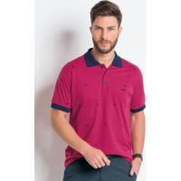 Camisa Polo Pink E Marinho Em Algodão 152512c981d66