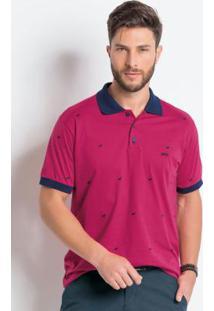 Camisa Polo Pink E Marinho Em Algodão