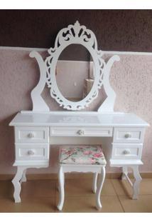 Penteadeira Filomena Mena Mena Com 5 Gavetas Com Espelho Personalizado Branca