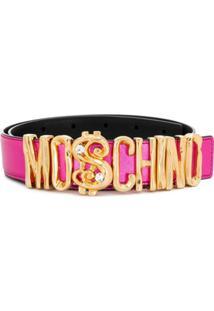 Moschino Cinto Metálico Com Logo - Rosa