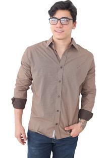 Camisa Slim Victor Deniro Marrom Crema