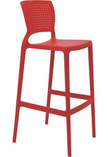 Cadeira Alta Bar Safira- Vermelha- 104,5X49,5X47Cm