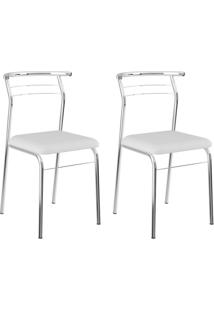 Conjunto Com 2 Cadeiras Vilma Branco E Cromado