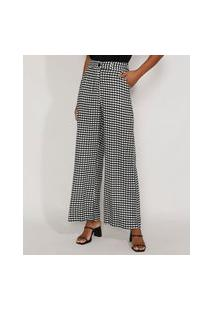 Calça Feminina Pantalona Wide Cintura Super Alta Alfaiataria Estampada Xadrez Vichy Preta