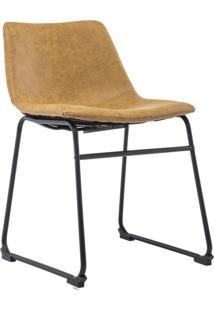 Cadeira Decorativa Sala De Estar Recepção Fixa Maia Pu Caramelo - Gran Belo