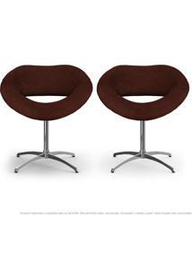 Kit 2 Cadeiras Beijo Marrom Poltronas Decorativas Com Base Giratória