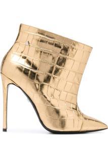 Grey Mer Ankle Boot Com Logo Gravado - Dourado