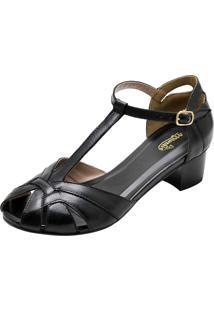 Sandália Salto Baixo Quadrado Miuzzi Preta