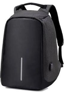 Mochila Anti-Furto Preta Compartimento Para Notebook Laptop Saída Usb Carregamento De Dispositivos