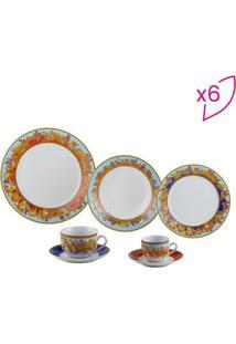 Aparelho De Jantar Baeza- Branco & Laranja- 42Pçs