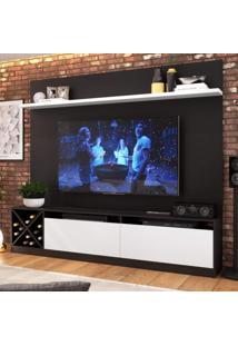 Estante Home Para Tv Até 50 Polegadas 2 Portas Adega Vicenza Quiditá Preto/Branco