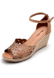 Sandália Dr Shoes Anabela Caramelo