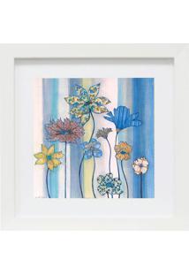 Quadro Decorativo Retangular Floral- Branco & Azul- Kapos