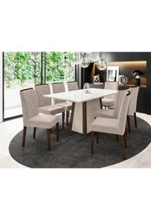 Conjunto De Mesa De Jantar Com Tampo De Vidro Júlia E 8 Cadeiras Caroline Animalle Off White E Creme