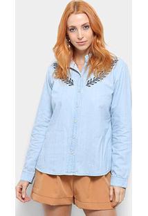 Camisa Jeans Maria Filó Manga Longa Bordado Feminina - Feminino-Azul