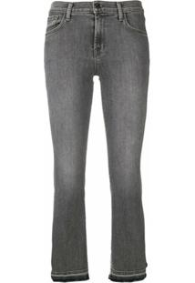 J Brand Selena Mid Rise Cropped Jeans - Cinza