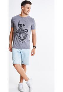 Camiseta Estampa Caveira Polvo