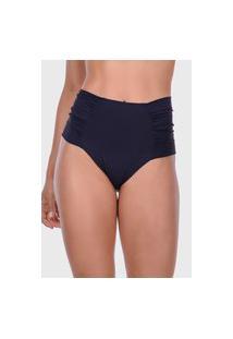 Calcinha Summer Soul Hot Pants Franzido Preto