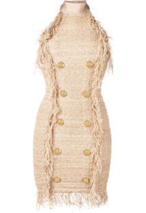 Balmain Vestido De Tweed - Dourado