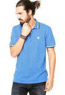 Camisa Polo Cavalera Zíper Azul