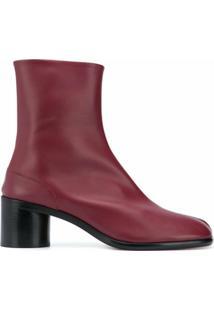 Maison Margiela Ankle Boot Com Cadarço - Vermelho