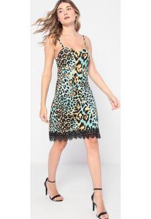 Vestido Animal Print Com Renda- Verde Água & Preto- Thipton