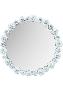 Espelho Branco Rosas Kasa Ideia De Metal 50Cm