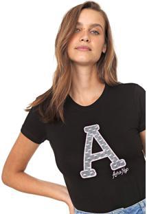 Camiseta Aeropostale Bordada Renda Preta