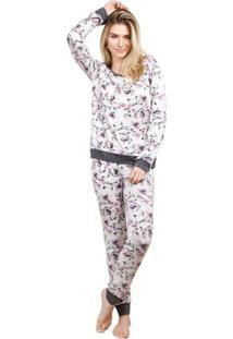 Pijama Inspirate Longo Feminino Com Fusô Feminino - Feminino-Branco+Rosa