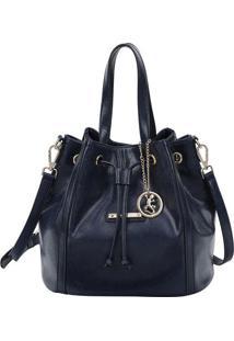 Bolsa Saco Com Recortes & Bag Charm- Azul Marinho- 2Fellipe Krein