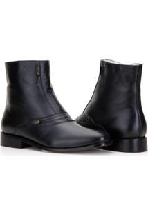Bota Capelli Boots Cano Médio Com Detalhes Em Costura Masculina - Masculino-Preto