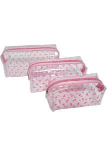 Kit Conjunto 3 Necessaire Fanlice Transparente Rosa