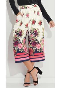 Calça Pantacourt Floral Com Bolsos