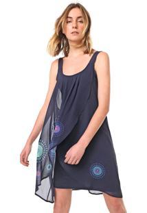 Vestido Desigual Curto Graciela Azul-Marinho