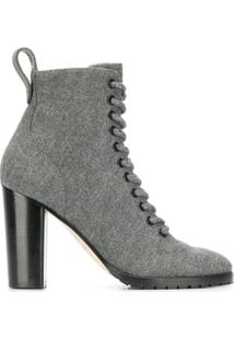 Jimmy Choo Ankle Boot Com Salto Bloco - Cinza