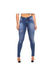 Calça Jeans Nakia Básica Skinny Rasgada Lisa Simples Azul