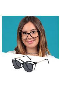 Armação De Grau Óculos De Sol Clipon Feminino Redondo Preto Isabela Dias