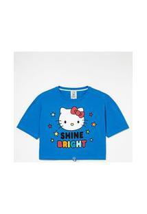 Blusa Manga Curta Estampa Localizada Hello Kitty | Hello Kitty | Azul | Gg