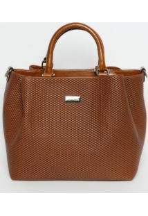 Bolsa Em Couro Texturizada - Marrom Claro - 28,5X45Xgriffazzi