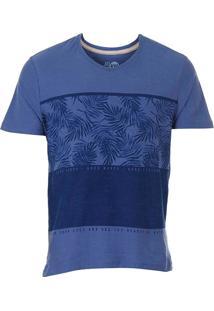 Camiseta Folhagem Masculina Km - Azul