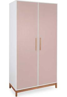 Roupeiro 2 Portas Guarda-Roupa Rosa Mdf E Madeira Design Moderno Moore - 104,6X53X206,5 Cm