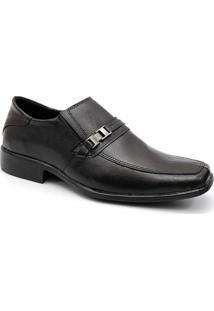 Sapato Social Masculino Conforto Couro Ecologico Garra - Masculino-Preto