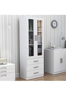 Armário Para Escritório Com Porta De Vidro E 3 Gavetas Bliv - Branco - Multistock